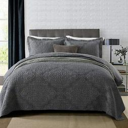 NEWLAKE Reversible Quilt Bedspread Coverlet Set,Jacquard Emb