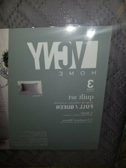 VCNY Home Nina 3 Piece Embossed Quilt Set, Full/Queen, Grey