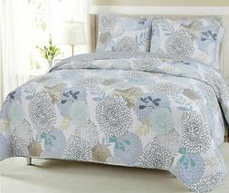 Nina Floral Reversible Cotton Quilt Set, Bedspreads, Coverle