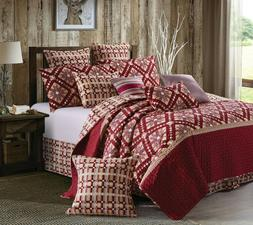"""NINE PATCH STAR CRANBERRY"" Quilt Set w/ Shams F/Q or King N"