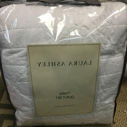 NIP Laura Ashley Maisy Ruffle White Twin Quilt & Sham Set 2p