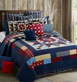 """North Star Red,White,Blue"" Quilt Set w/ Shams F/Q or King N"