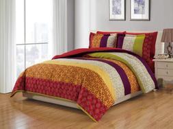 Chezmoi Collection Nova 6-Piece Floral Retro Comforter Set w