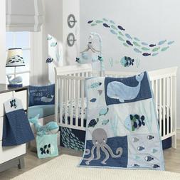 Lambs & Ivy Oceania Aqua/Blue Aquatic 4 Piece Crib Bedding S