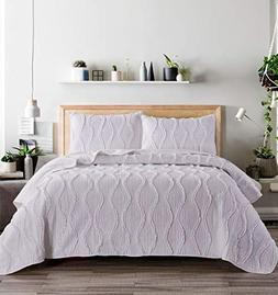 Virah Bella Ogee Ruffle Solid Color Quilt and Sham Set