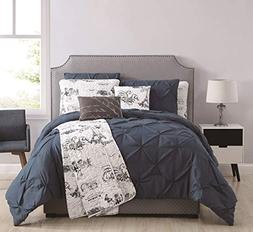 8 Piece Ohlala Teal/Gray Comforter and Quilt Set King