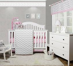 GEENNY OptimaBaby Pink Grey Chevron 6 Piece Baby Girl Nurser