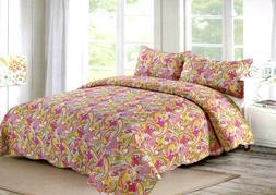 Orange Garden Quilt Set King / Queen 3 Piece Paisley Print A