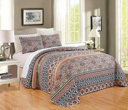 Orange Taupe Black White Quilt Reversible CAL KING Size Beds