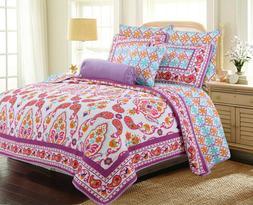 Orofino Paisley Purple 100%Cotton 3-Piece Queen Quilt Set Be
