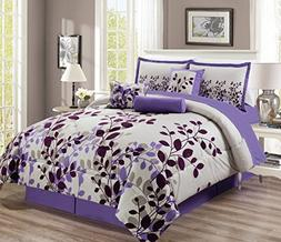 "11 Piece - Purple / Grey / Lilac Oversize Comforter Set ""FRE"