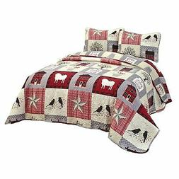 oversized homestead patchwork bedding quilt set set