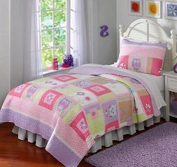 Owls, Pink, Purple, Green, Nature, Girls Full / Queen Quilt