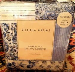 Laura Ashley Paisley Patchwork Quilt Set, Full/Queen, Blue S