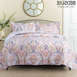 Bedsure Paisley Printed Lightweight Microfiber Quilt Coverle