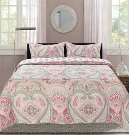 paisley printed reversible quilt set pink