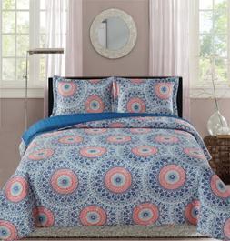 Premius Palace Aboriginal Printed Reversible Quilt Set, Blue