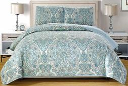 Pale Blue Grey Paisley Quilt Reversible QUEEN Size Coverlet