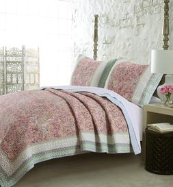 PALISADES 3pc King Quilt Set Reversible Floral Blossom Garde