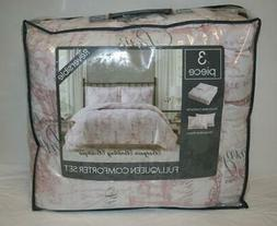 Pem America Paris Full / Queen Comforter Set Pale Pink Toile