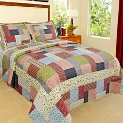 King Quilt Set Patchwork Bed Cover Reversible Quilted Comfor