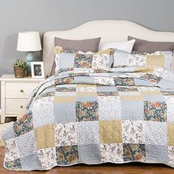 Bedsure Patchwork Bedding Quilt Set Luxury Bedroom Bedspread