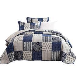 patchwork bedspread set denim blue elegance cotton