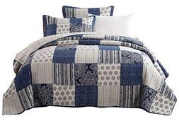 DaDa Bedding Patchwork Bedspread Set - Denim Blue Elegance 1