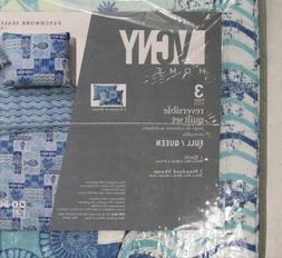 Full/Queen Size Quilt Set in Blue Beautiful Beach 3 Pc Set w