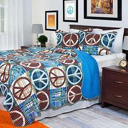Lavish Home 2-Piece Peace Quilt Set, Twin, Brown/Blue