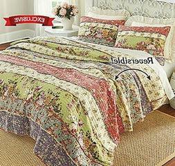 Perennial Garden Quilt Set 100% Cotton Filled Reversible Com