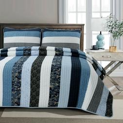 Petrey Reversible Cotton Quilt Set, Bedspread, Coverlet