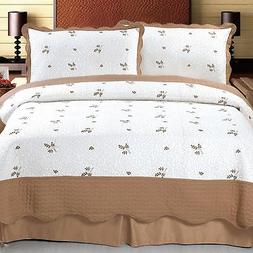 Bedford Home Peyton Embroidered 3-Piece Quilt Set, King