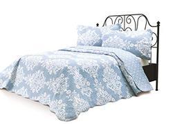 2 Piece Quilt Set with Sham Reversible Bedspread Matelasse B