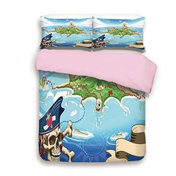 Pink Duvet Cover Set,King Size,Aerial View Fantasy Pirate Co