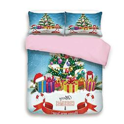 Pink Duvet Cover Set,Twin Size,New Year Tree Surrounded by S