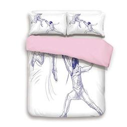 Pink Duvet Cover Set,Queen Size,Sketch of Two Sportsman Fenc
