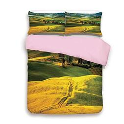 Pink Duvet Cover Set,Queen Size,Idyllic Landscape of Tuscany