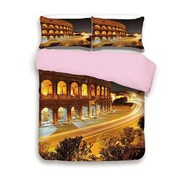 Pink Duvet Cover Set,FULL Size,Colosseum at Night Scenery Ro