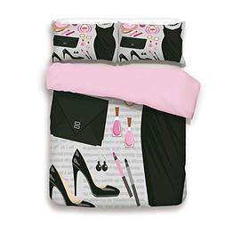 Pink Duvet Cover Set,Queen Size,Black Smart Cocktail Dress P