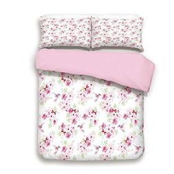 iPrint Pink Duvet Cover Set,Queen Size,Hummingbirds and Bunc