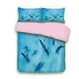 Pink Duvet Cover Set/Queen Size/Group of Dolphins in Haw