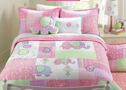 Pink Elephant 100%Cotton Reversible Quilt Set, Bedspread, Co