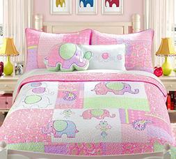 Cozy Line Home Fashions Elephant Bedding Quilt Sets,100% COT