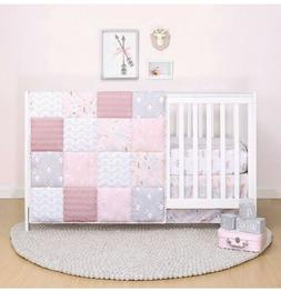 The Peanutshell Pink Floral Crib Bedding Set for Baby Girls