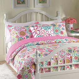 Cozy Line Pink Floral 2-Pcs Quilt Sets Reversible Polka Dot