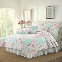 Pink Garden Reversible Quilt Set, Bedspread, Coverlet
