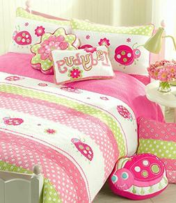 Cozy Line Home Fashions 4-Piece Pink Ladybug Quilt Bedding S