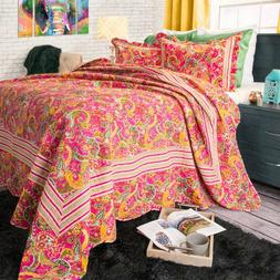Lavish Home 3 Piece Pink Paisley Quilt Set - King