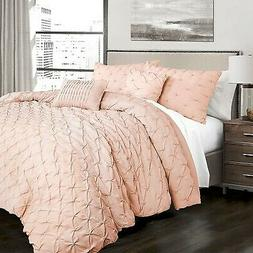 Lush Decor Pintuck 5PC Comforter Set - Blush - Size: Full Qu